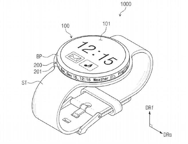 Samsung Gear-patentaanvraag scherm op zijkant