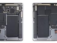 MacBook Air met M1 (rechts) in MacBooks teardown, november 2020. Bron: iFixit