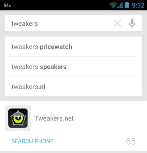 Universele zoekfunctie in Galaxy Nexus, Android 4.1