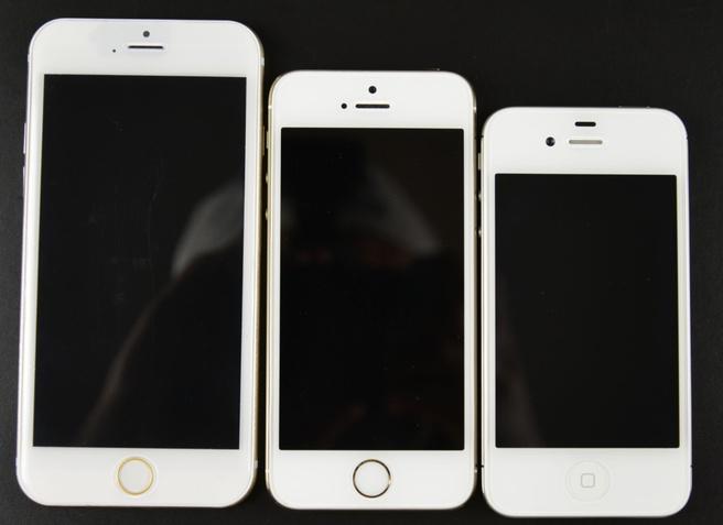 Mockup iPhone 6 naast iPhone 5s en iPhone 4s (afbeelding: Sonny Dickson)