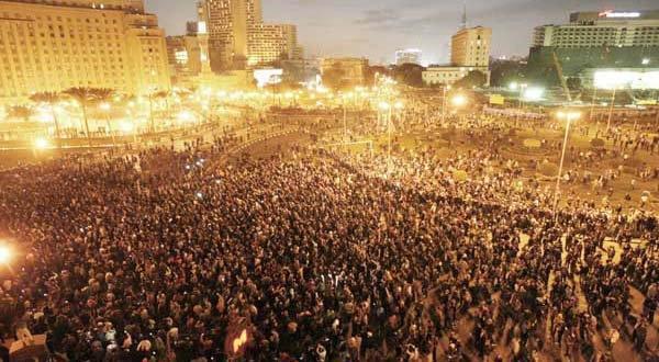 Demonstratie op het Tahrirs-plein in Caïro