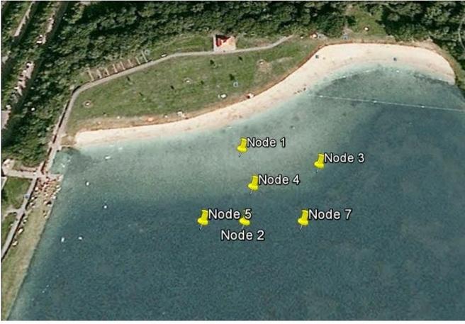 Kaart met nodes voor 'onderwater'-gps