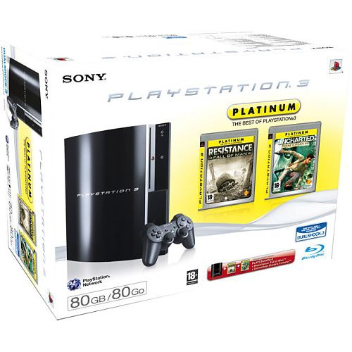 Sony PS3 PlayStation 3 80 GB spelcomputer + Best of Platinum Pack Zwart
