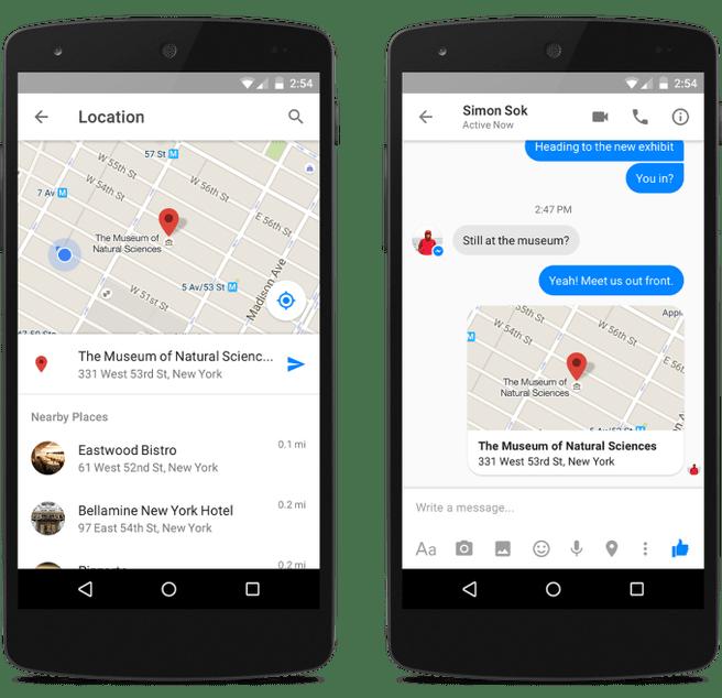 messenger locatie delen facebook