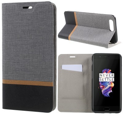 qMust OnePlus 5 Wallet Case - TPU frame - Grijs