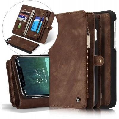 Caseme Apple iPhone X Luxe Lederen Portemonnee Hoesje - backcover Bruin