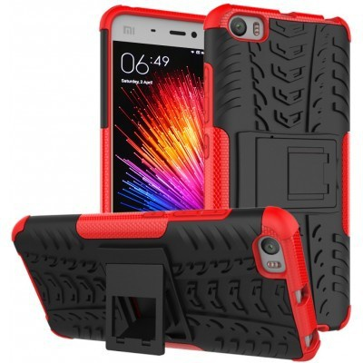 qMust Xiaomi Mi 5 Rugged Hybrid Case - Dual Protection - Red