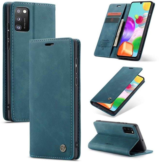 Caseme Samsung Galaxy A41 Retro Wallet Case  Blauw