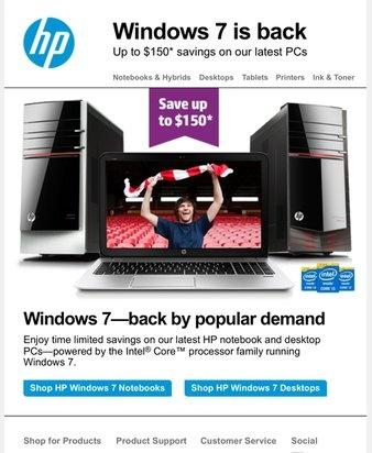 Windows 7-actie van HP