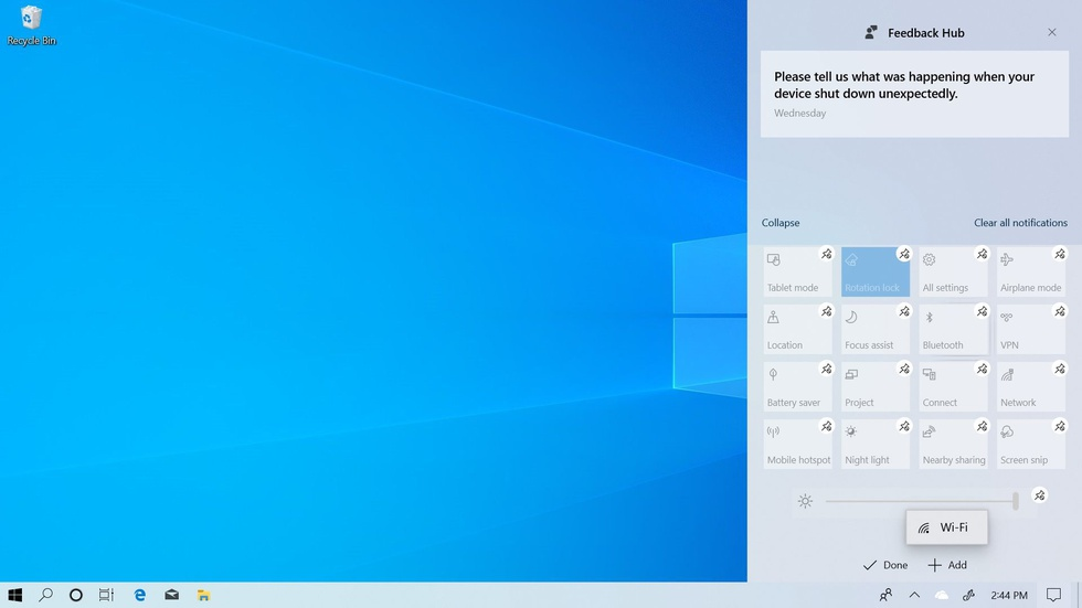Windows 10 May 2019 Action Center