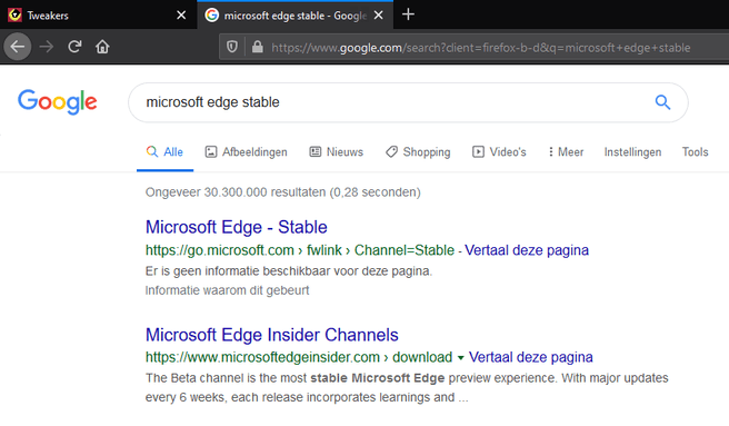 MS Edge Chromium Stable