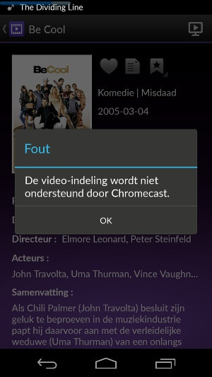 DS video Chromecast foutmelding