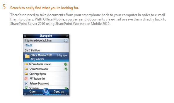 Screenshot Sharepoint in Windows Mobile 7