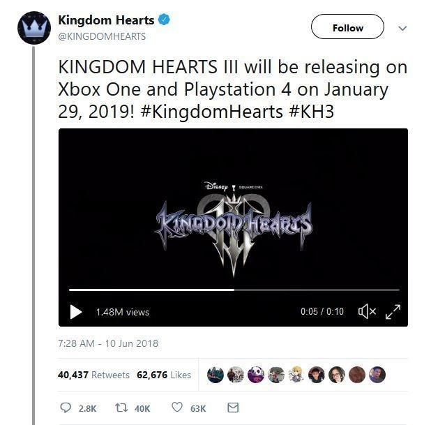 Aankondiging releasedatum Kingdom Hearts 3 Twitter
