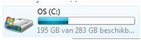 Zien hoeveel ruimte je hebt op de HDD in Vista