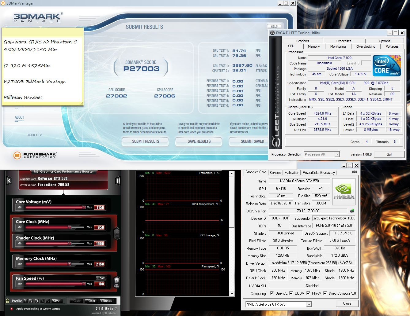 Max vantage run GTX 570 phantom