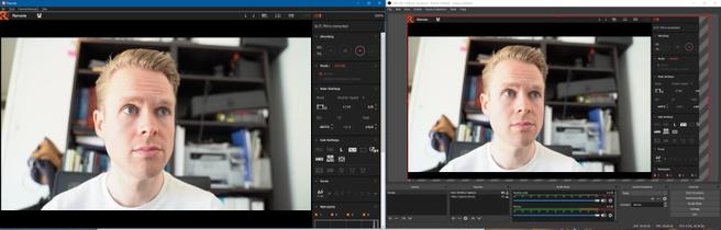 Een setup met Sony-fullframe camera. Links de originele camerasoftware met live view, rechts OBS waarbij de rode lijn wordt gebruikt om te croppen zodat je alleen het camerabeeld overhoudt en niet het volledige venster.