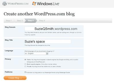 overgangsscherm Live Space naar WP