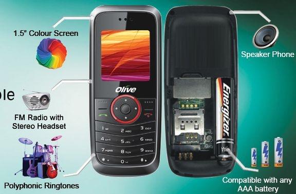 Olive Frvron, telefoon met AAA-batterij