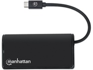 Manhattan USB-C Hub/Dock, USB-C to 2x USB-C and 2x USB-A ports, 5 Gbps (USB 3.2 Gen1), Bus Power, Cable 13.5cm, Black
