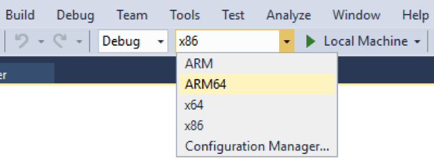 Visual Studio 15.9 ARM64