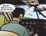 Cartoon near mid-air-collision