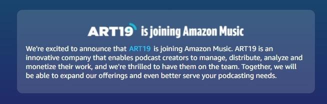 Amazon neemt ART19 over