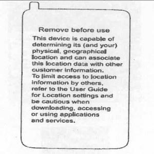 Verizon waarschuwingssticker