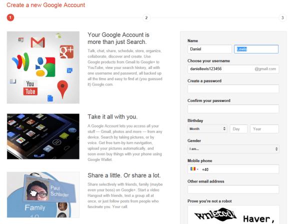 Google+ bij nieuw account