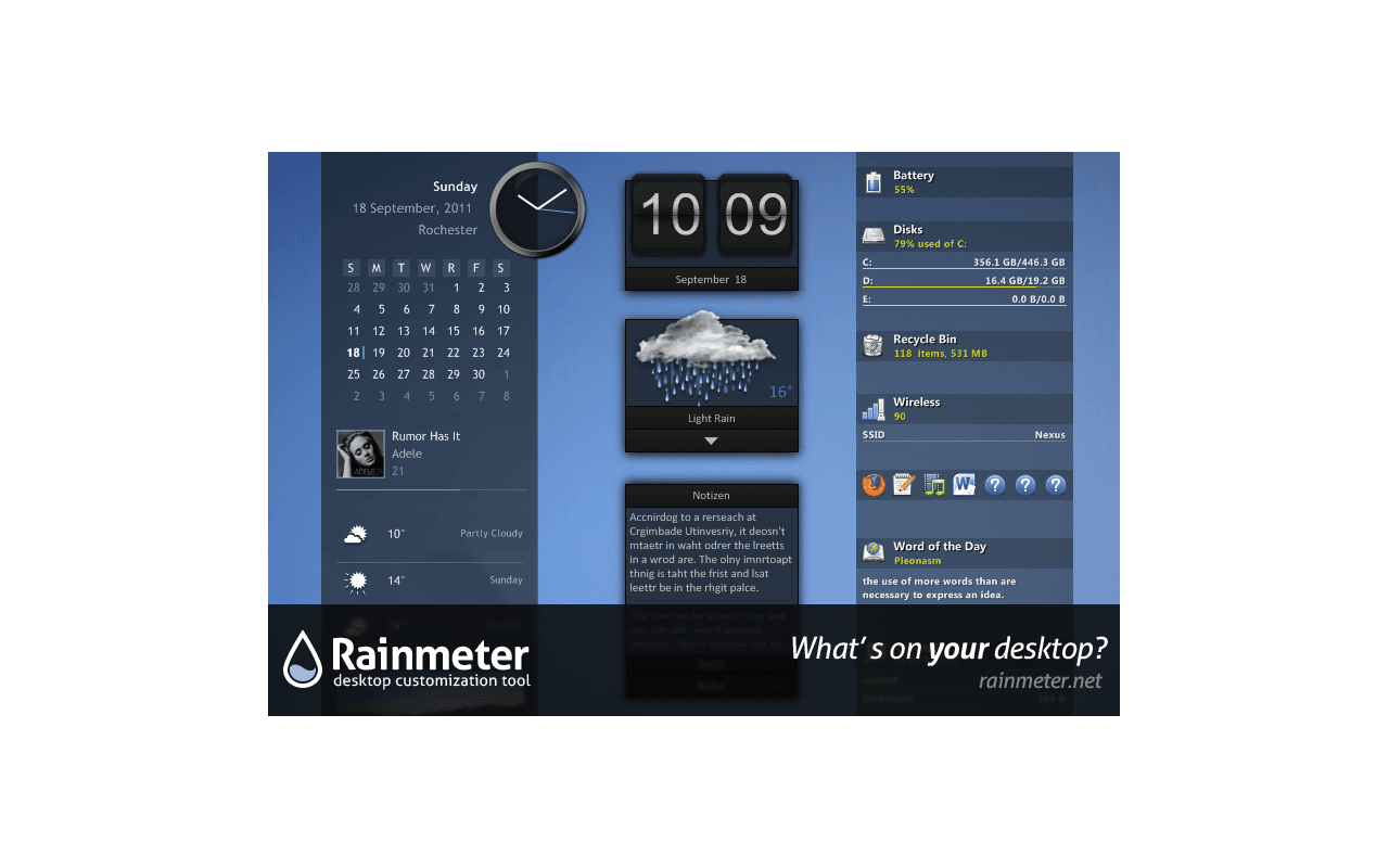 Rainmeter 2.1 screenshot