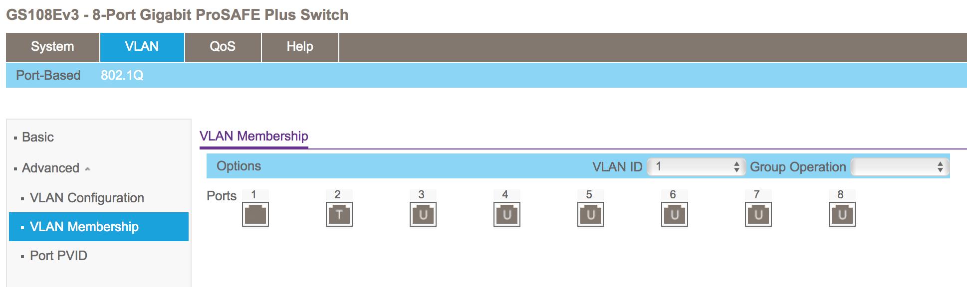 Netgear GS108E v3 VLAN membership