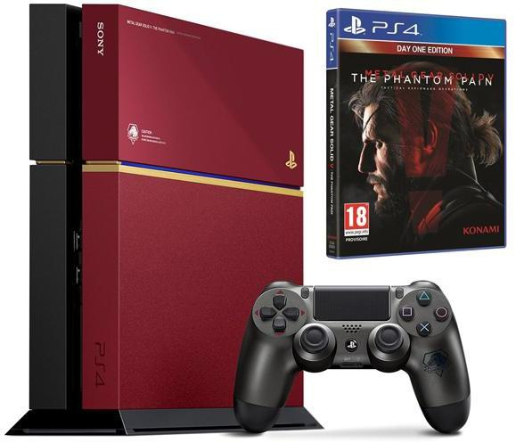 Sony PlayStation 4 Limited Edition + Metal Gear Solid V: The Phantom Pain Bordeaux Rood, Zwart
