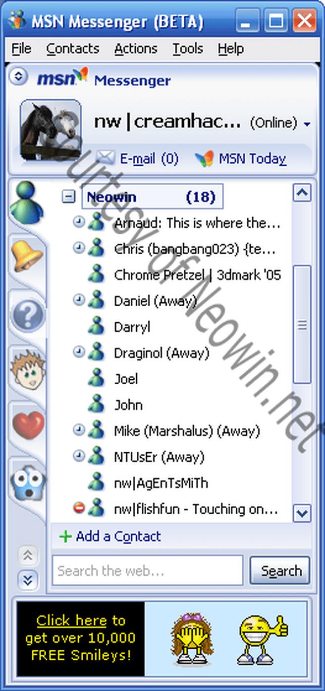 MSN Messenger 7 Contactlist