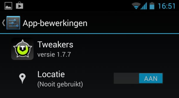 Verborgen menu in Android 4.3 om per app permissies in te stellen