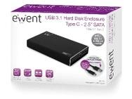 Ewent USB 3.1 Gen2 Type-C 2.5 inch HDD/SSD behuizing Zwart