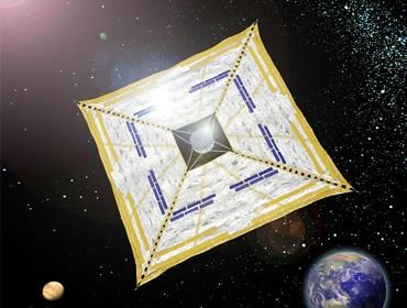 Zonnezeil op Ikaros-satelliet