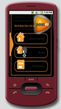 Mockup: Android-telefoon met PostNL-app