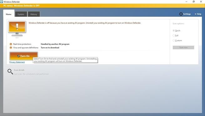 Windows Defender W10 oud