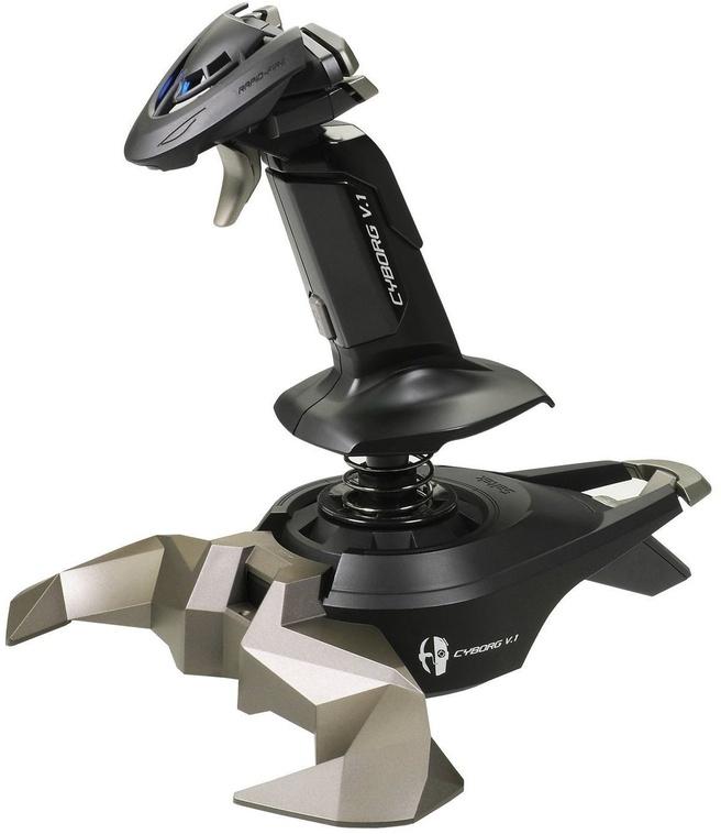 Saitek Cyborg V.1 Stick Blauw, Zilver, Zwart, PC