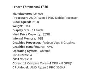 Lenovo C330-Chromebook met Ryzen 5 Pro 3500U