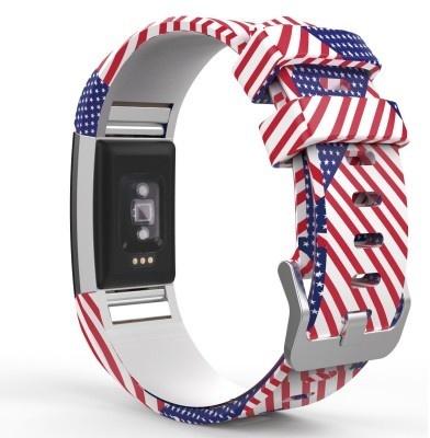 qMust Fitbit Charge 2 Bandje Amerikaanse Vlag - sportbandje
