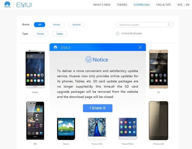 Emui-pagina met downloads van Huawei