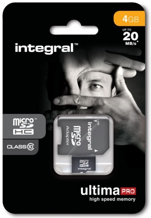 Integral UltimaPro microSDHC 4GB Class 10 + SD adapter
