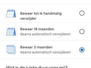 Google auto delete data