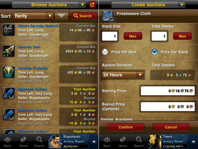 World of Warcraft Remote Auction House op de iPhone