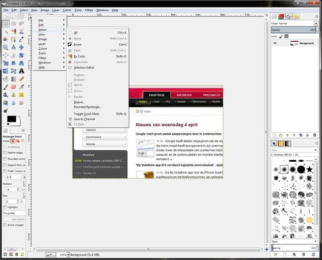 GIMP 2.7.5 (laatste dev-release voor 2.8 rc)