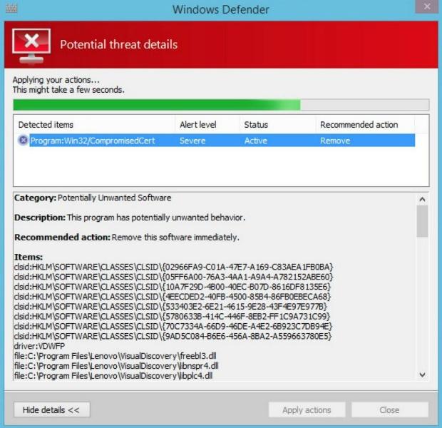 Update Windows Defender voor verwijderen SuperFish