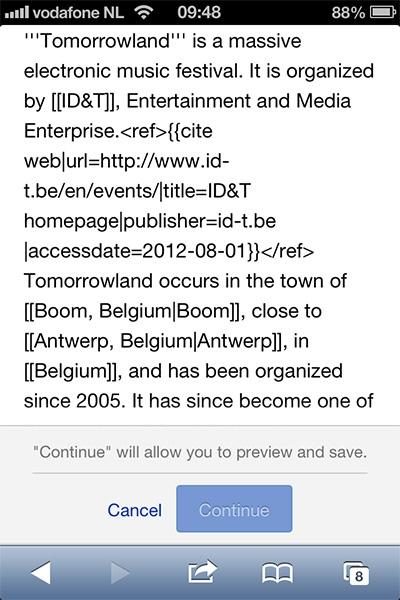 Wikipedia bewerken op mobiel
