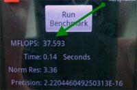 Linpack benchmark resultaten voor Android Froyo 2.2