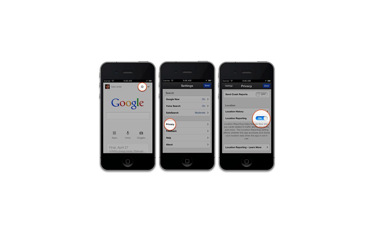 Google Now Location gps uitzetten